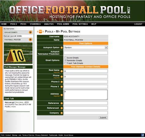 Office Football Pool Website company branded pools custom skins office pools