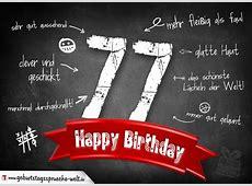 Komplimente Geburtstagskarte zum 77 Geburtstag Happy