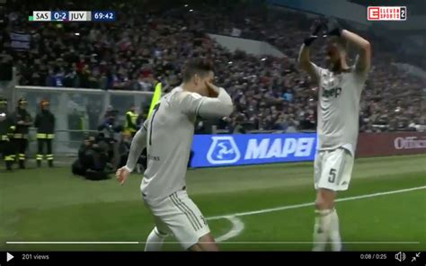 video ronaldo scores lovely header  juventus  sassuolo