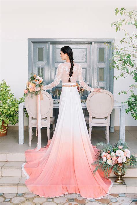 Dip Dye Wedding Ideas In Ombré Peach And Coral Hey