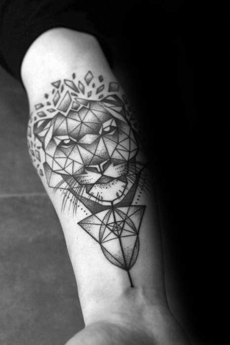 50 Geometric Tiger Tattoo Designs For Men - Striped Geometry Ideas