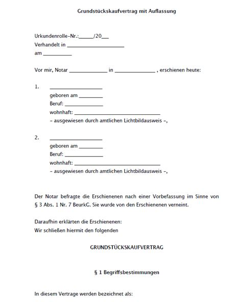 grundstueckskaufvertrag mit auflassung vorlage zum