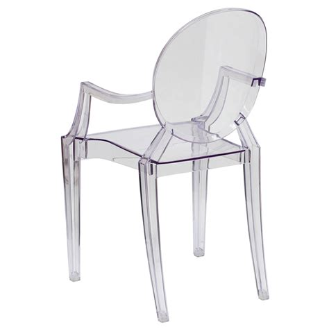 clear ghost chair with arms for rent in nyc partyrentals us