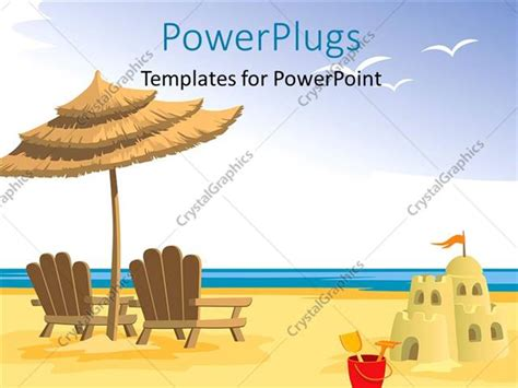 powerpoint template depiction  beach  chairs