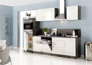 Küche 280 Cm : k chenzeile lissabon k che mit e ger ten breite 280 cm 15 teilig hochglanz wei eiche ~ Markanthonyermac.com Haus und Dekorationen