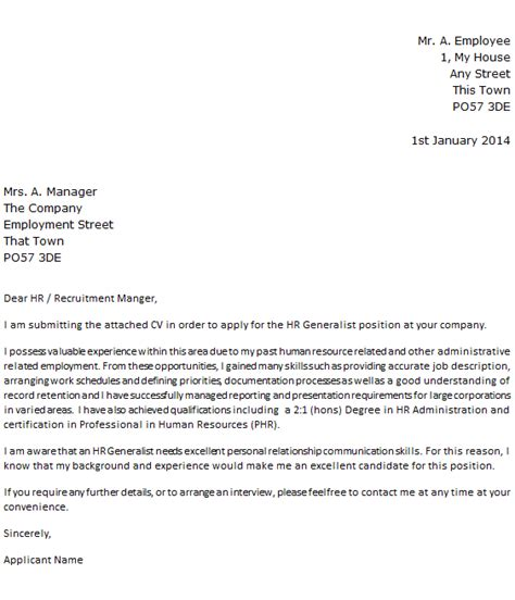 cover letter for human resources exle essay