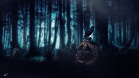 halloween pumpkin dark age crow forest death