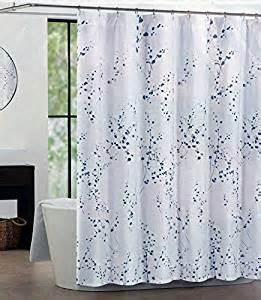 tahari home luxurious fabric shower curtain sprigs 72 quot x 72 quot blue silver on