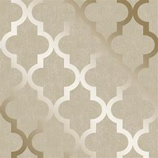 Henderson Interiors Camden Trellis Wallpaper Cream, Gold