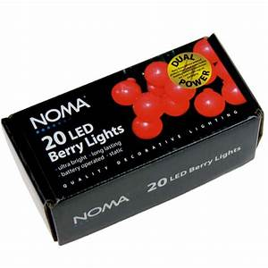 Noma 285m length of 20 battery operated indoor red static for Outdoor battery operated berry lights