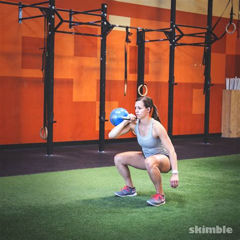 squat kettlebell exercise clean press swing right workout thrusters skimble exercises