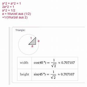 Sin Berechnen : einheitskreis winkelfunktionen am einheitskreis zeigen dass cos 45 1 2 2 und sin 45 ~ Themetempest.com Abrechnung
