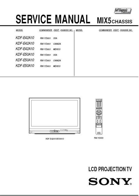 sony kdf e42a10 kdf e50a10 lcd tv service repair manual