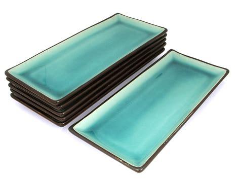rectangular dinnerware tropical teal rectangular plate set 5 plates only