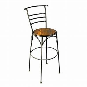 Tabouret De Bar Fer : tabouret de bar en bois exotique et fer forg esprit bistrot ~ Dallasstarsshop.com Idées de Décoration