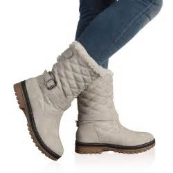 womens boots from uk dd15 womens quilted faux fur grip sole winter boots shoes size 5 10 ebay