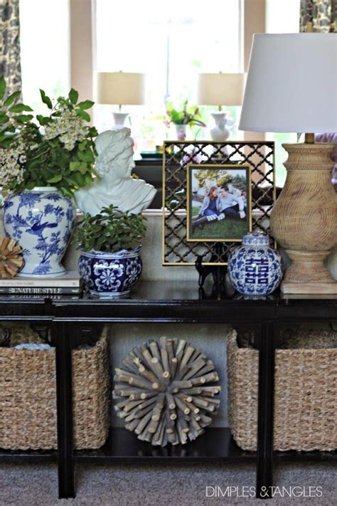 sofa table styling ideas  pinterest entry table decorations accent table decor