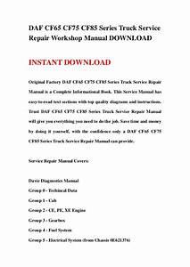 Daf Cf65 Cf75 Cf85 Series Truck Service Repair Workshop Manual