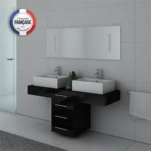 Meuble Vasque Double : meuble de salle de bain double vasque noir dis988n distribain ~ Teatrodelosmanantiales.com Idées de Décoration