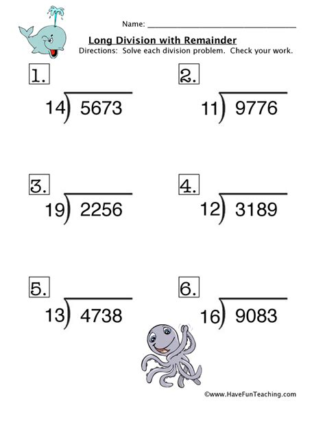 Math Division Worksheets Resources