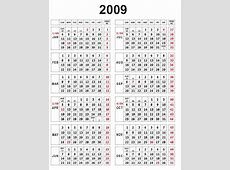 2009 Calendar yearly calendar template