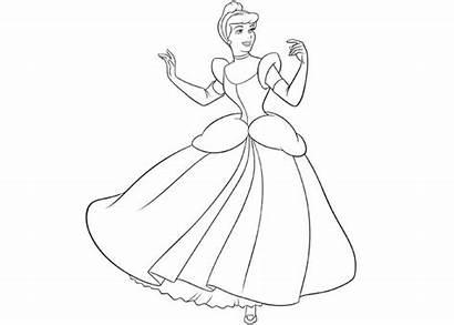 Coloring Cinderella Pages Princess Cartoon Printable Disney