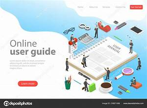 Isometric Flat Vector Landing Page Template Of User Manual
