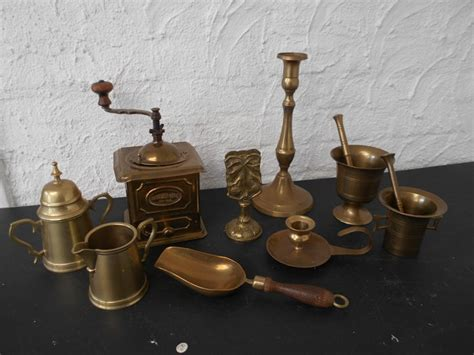 Lot Brass Articles Table And Kitchen