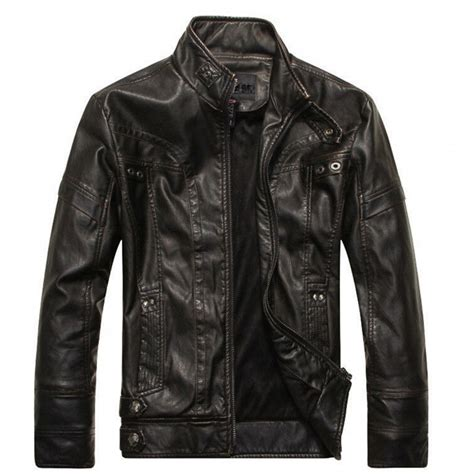 Stand Collar Black Full Sleeves Leather Biker Jacket For