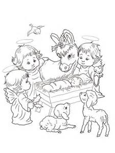 nativity scene  cute angels  animals coloring page