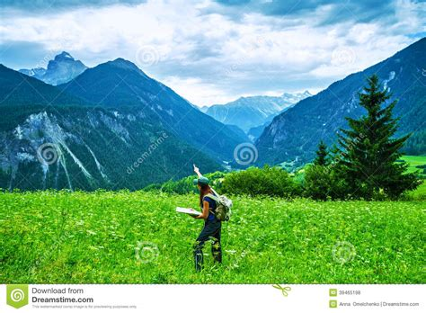 Happy Traveler In The Mountains Stock Photo Image Of