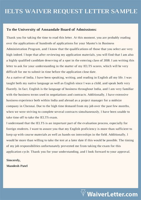 ielts waiver request letter   ielts fee letter