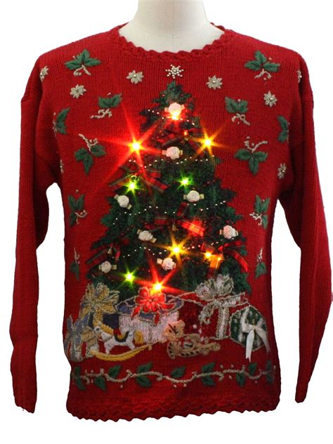 ugly christmas sweater with lights madinbelgrade
