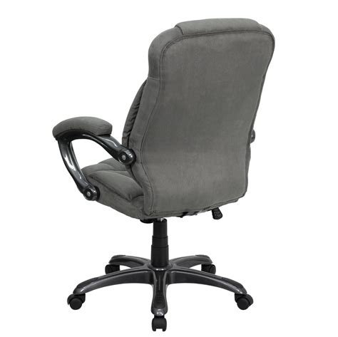 high back gray microfiber upholstered contemporary office