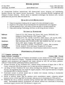 resume for administration database administrator resume exle