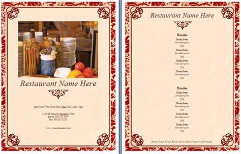 dining menu template free restaurant menu template