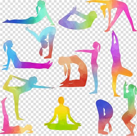 multicolored assorted yoga positions illustration bikram