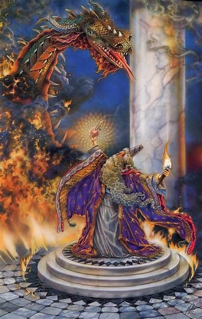Dragon Fantasy Wizard Merlin Wizards Dragons Mythical