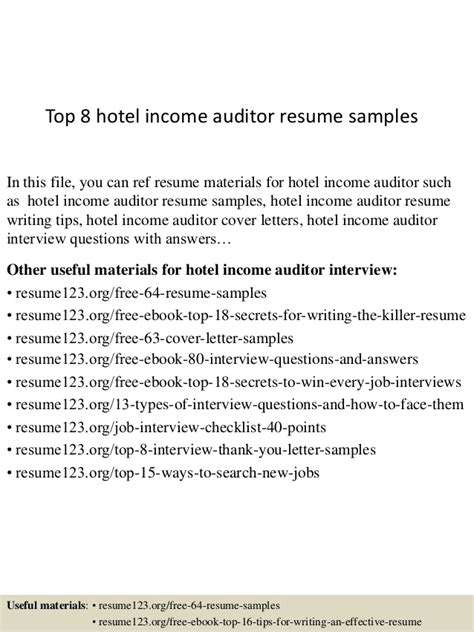Government Auditor Resumes by Top 8 Hotel Income Auditor Resume Sles
