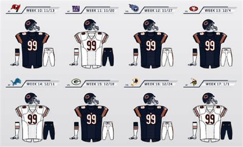 chicago bears uniform schedule  filled  surprises