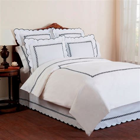 wickham rope embroidered bed skirt  scalloped edge