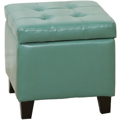 Green Leather Ottoman by Seafoam Green Leather Square Storage Ottoman With Tufting