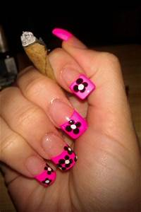 Neon Pink French Tip W Flowers Nail Art Gallery