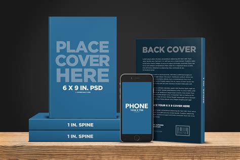 thin book template 6 x 9 book with ereader promo psd template covervault
