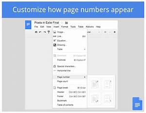differernt fotter numbering pages google product forums With google docs first page header