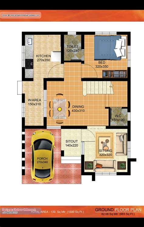 kerala villa plan  sq ft architecture house plans