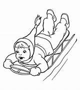Coloring Sliding Winter Sled Down Kid Season Brave Pages Print Printable Netart Getcolorings sketch template