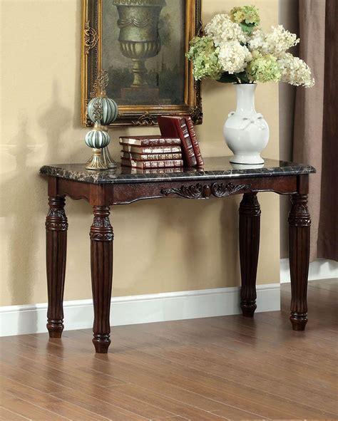 brampton dark walnut faux marble top sofa table  furniture  america cmex  coleman