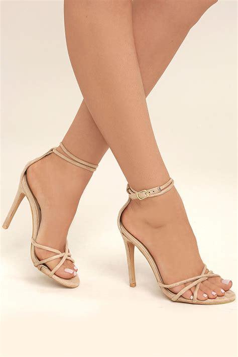 sexy nude ankle strap heels vegan suede heels nude