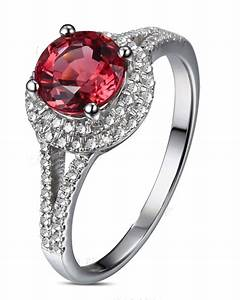 1 carat round cut red ruby and diamond halo engagement With red diamond wedding ring